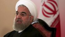 File photo of Iranian President Hassan Rouhani speaking during news conference in Islamabad
